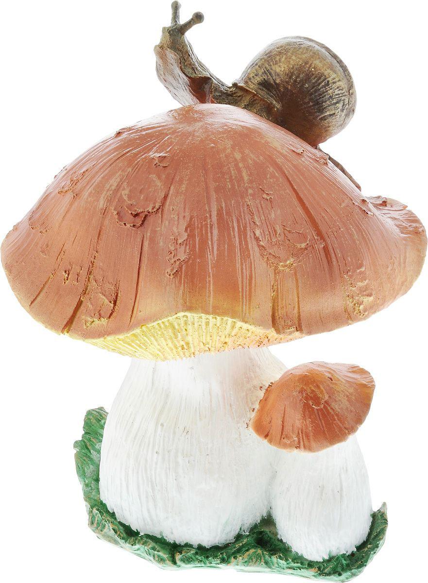Фигурка Гриб с улиткой, цвет: коричневый, бежевый, высота 30 см