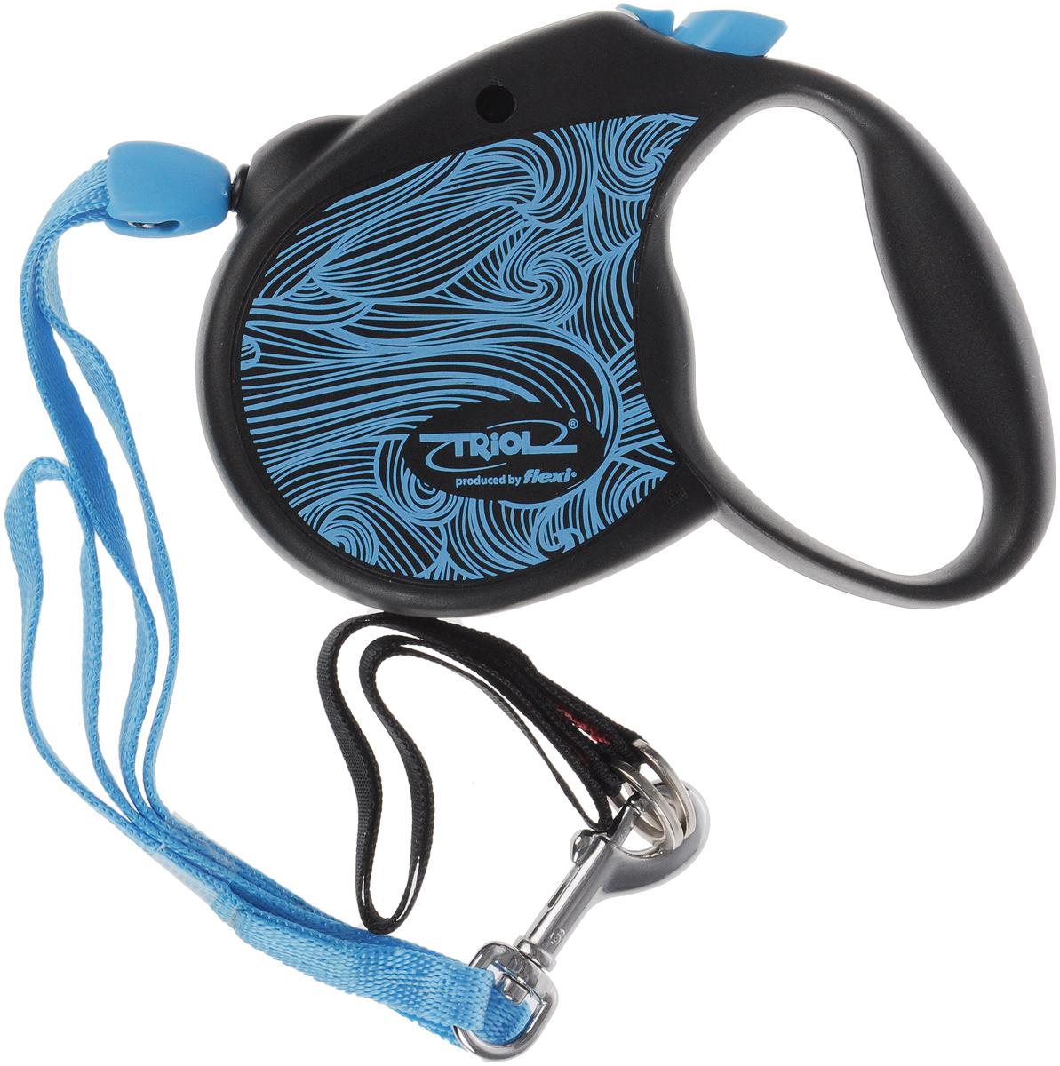 Поводок-рулетка Triol Colour, цвет: голубой, черный, длина 5 м. Размер S поводки triol поводок со светоотражающей строчкой серый размер m 20 x 1200мм