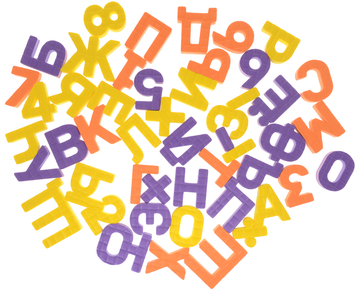 Pic'nMix Набор игрушек для ванной Буквы-цифры цвет желтый оранжевый фиолетовый 48 шт английский язык запросто буквы цифры первые слова