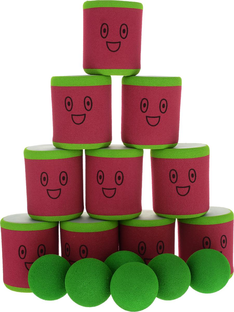 Safsof Игровой набор Городки цвет зеленый красный