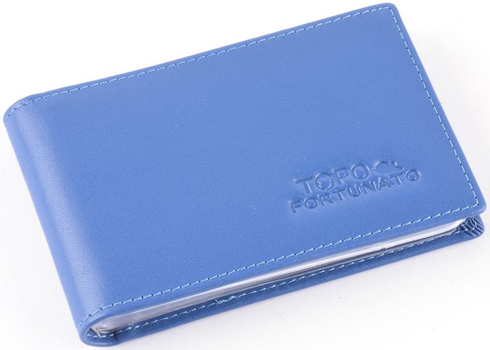 Визитница горизонтальная женская Topo Fortunato Арлекино, цвет: синий. TF 228-101 el topo
