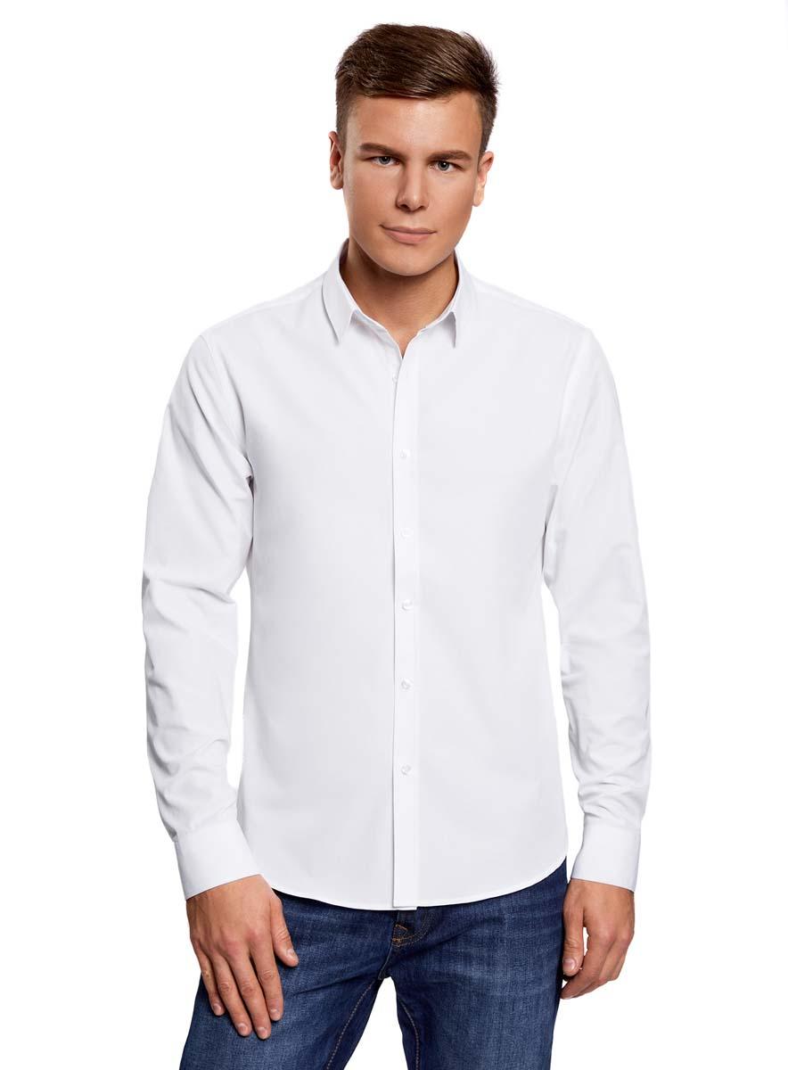 Купить Рубашка мужская oodji Lab, цвет: белый. 3L110208M/44355N/1000N. Размер 39 (46-182)