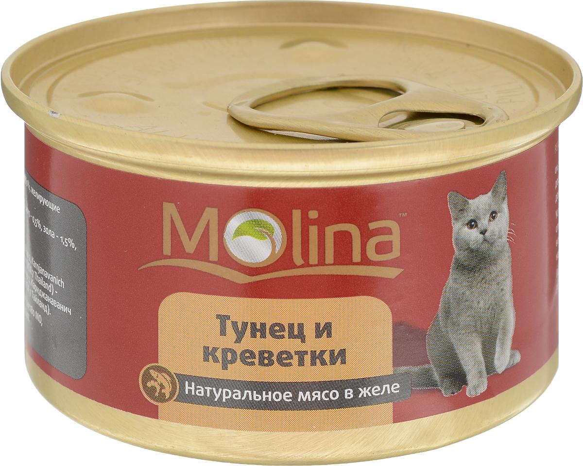 Консервы для кошек Molina, с тунцом и креветками в желе, 80 г консервы mi mi feline nutrition с креветками кусочки в желе для кошек 80г