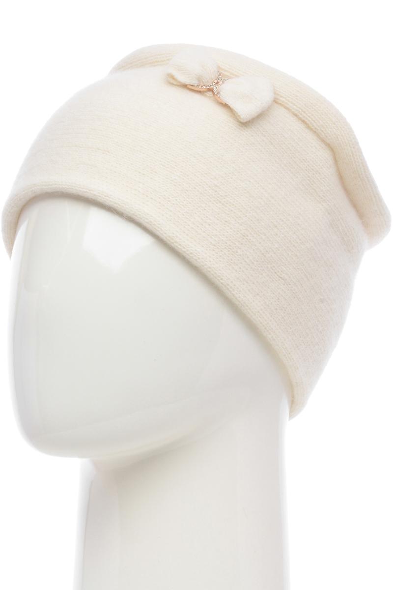 Шапка женская Vita Pelle, цвет: белый. NSH61892L-11. Размер 58/60NSH61892L-11Женская шапка от бренда Vita Pelle выполнена из качественного смесового материала. Модель без подкладки дополнена оригинальной прошитой складкой и декоративным бантиком.