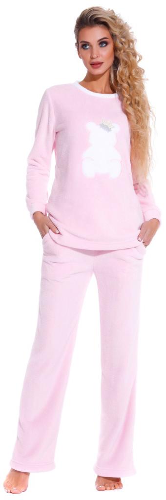 Пижама женская Peche Monnaie, цвет: розовый. 1711. Размер XL (50/52)1711Мягкая, пушистая и необычайно уютная пижама от бренда PECHE MONNAIE France создана из нежного велсофта(микрофибра). Материал легкий, теплый и очень приятный к телу, как буд-то плюшевый мишка обнимает вас! Именно такие ощущения вы испытываете одевая эту пижаму. Кофта с О-образным вырезом горла, украшена объемной аппликацией в виде мишки с вязанным бантиком. Комфортные прямые брюки с мягкой резинокой на поясе и внутренними карманами.