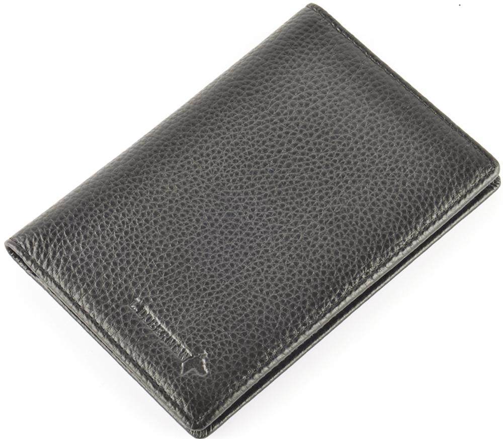 Обложка на паспорт мужская L.Doberman, цвет: черный. LD 7730-093Натуральная кожаОбложка на паспорт натуральная кожа. Размер 9,5х13,3 см. С левой стороны кожаный захват, два кармашка для пластиковых карт, прозрачное окошко для пропуска, с правой стороны пластиковый захват.