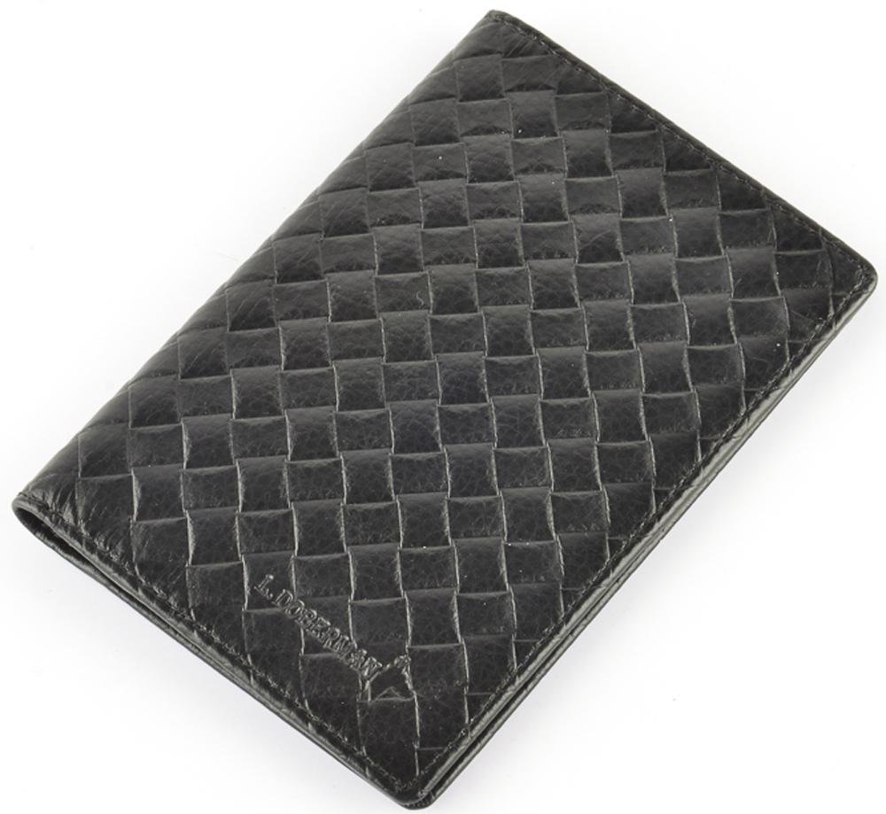 Обложка на паспорт мужская L.Doberman, цвет: черный. LD 7740-093 - Обложки для паспорта