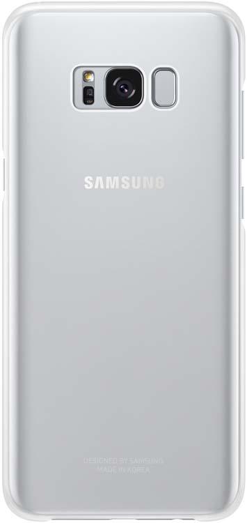 Samsung Clear Cover чехол для Galaxy S8+, SilverEF-QG955CSEGRUSamsung EF-QG955C Clear Cover - прозрачная накладка на заднюю крышку смартфона Samsung Galaxy S8+. Тонкий чехол практически не увеличивает размеров смартфона, сохраняя его оригинальный внешний вид и защищая от пыли, грязи и повреждений. Оснащен необходимыми отверстиями под порты и камеру.