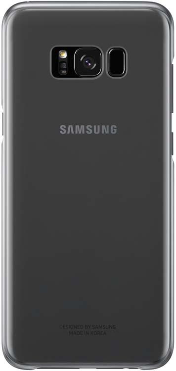 Samsung Clear Cover чехол для Galaxy S8+, BlackEF-QG955CBEGRUSamsung EF-QG955C Clear Cover - прозрачная накладка на заднюю крышку смартфона Samsung Galaxy S8+. Тонкий чехол практически не увеличивает размеров смартфона, сохраняя его оригинальный внешний вид и защищая от пыли, грязи и повреждений. Оснащен необходимыми отверстиями под порты и камеру.