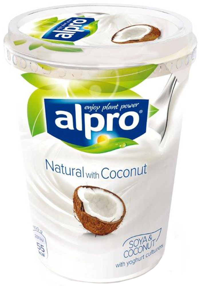Alpro Йогурт Кокосовый соевый, обогащенный кальцием и витаминами, 500 г670-319Мы приготовили идеальный микс соевого йогурта и нежного кокоса, чтобы создать потрясающе вкусный тропический десерт. Кокосовый йогурт Alpro прекрасно сочетается с манго, папайей, гранатом а также вкусен в качестве самостоятельного угощения.
