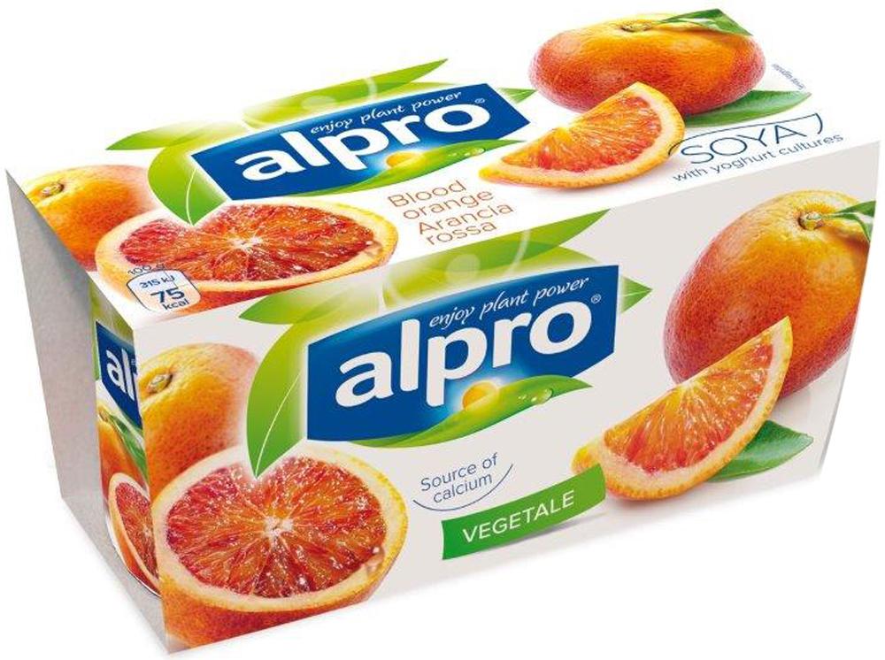 Alpro Йогурт Красный апельсин, соевый, обогащенный кальцием и витаминами, 2 по 125 г670-325Яркий вкус красного апельсина и нежность сои - отличное сочетание, не так ли? Попробуйте Alpro красный апельсин как самостоятельный десерт, а также с фруктами или хлопьями!