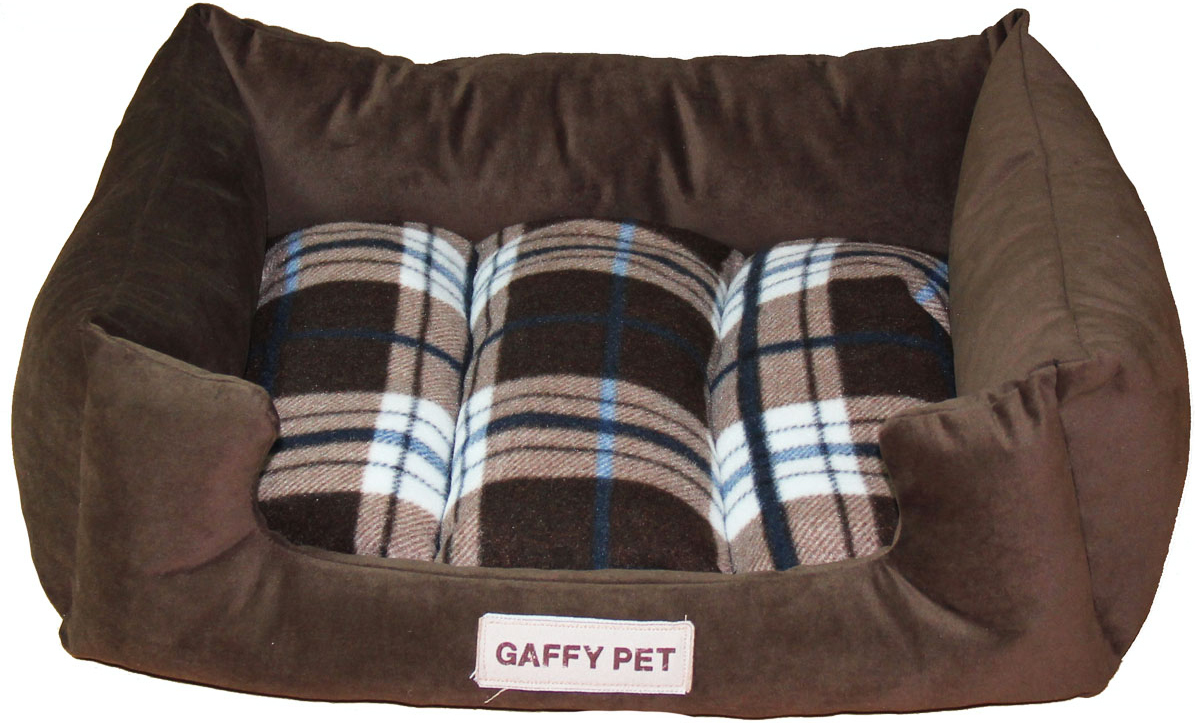 Лежак Gaffy Pet Plaid, цвет: коричневый, 55 х 45 х 23 см hot sale summer cool bed plaid rattan sleeping mat for pet dogs