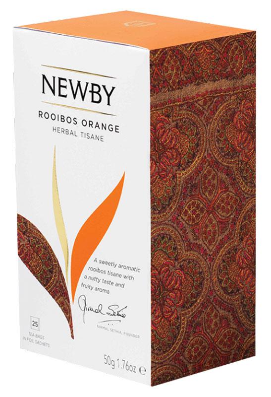 Newby Rooibos Orange травяной чай в пакетиках, 25 шт311220Апельсиновые нотки чая Newby Rooibos Orange подчеркивают великолепие сорта. Необычный красный чай характеризуется индивидуальным, насыщенным цветом и сладковатым фруктовым вкусом. В составе напитка присутствует кожура апельсина, придающая мягкий оранжевый цвет. Rooibos Orange отлично тонизирует, придает бодрости и активности, стимулирует кровообращение и активизирует мозг.Уважаемые клиенты! Обращаем ваше внимание на то, что упаковка может иметь несколько видов дизайна. Поставка осуществляется в зависимости от наличия на складе.