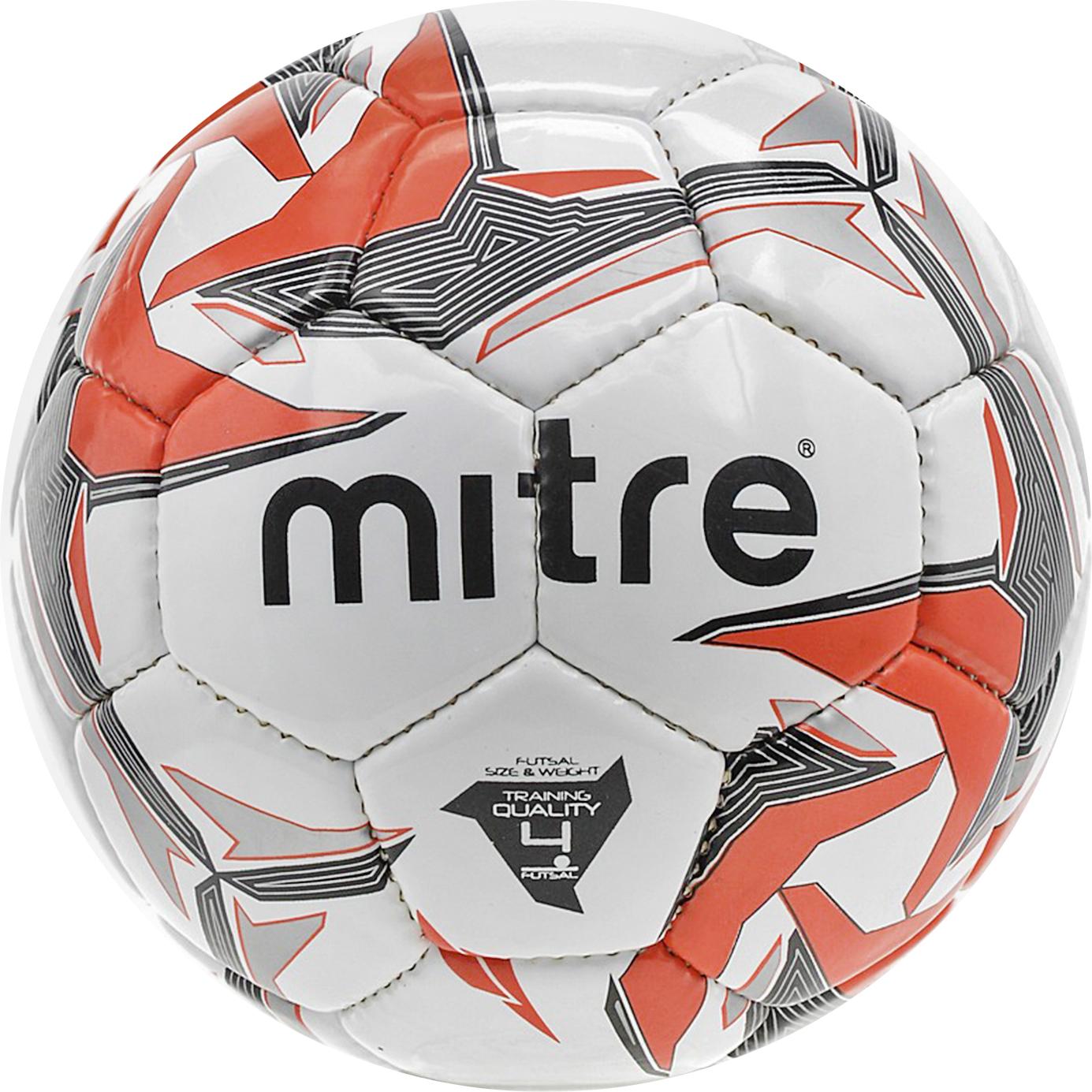 Мяч футбольный Mitre Futsal Tempest. Размер 4BB1354WD6Футзальный мяч Ручная сшивка Бутиловая камера надолго сохраняет давление Глянцевое покрытие Низкий первый отскок 30% Размер 4 Панелей 32 Самая экономичная цена среди брендовых мячей