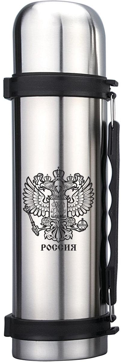 Термос с узким горлом. Объем 1 литр. Корпус металлический с декоративным рисунком.