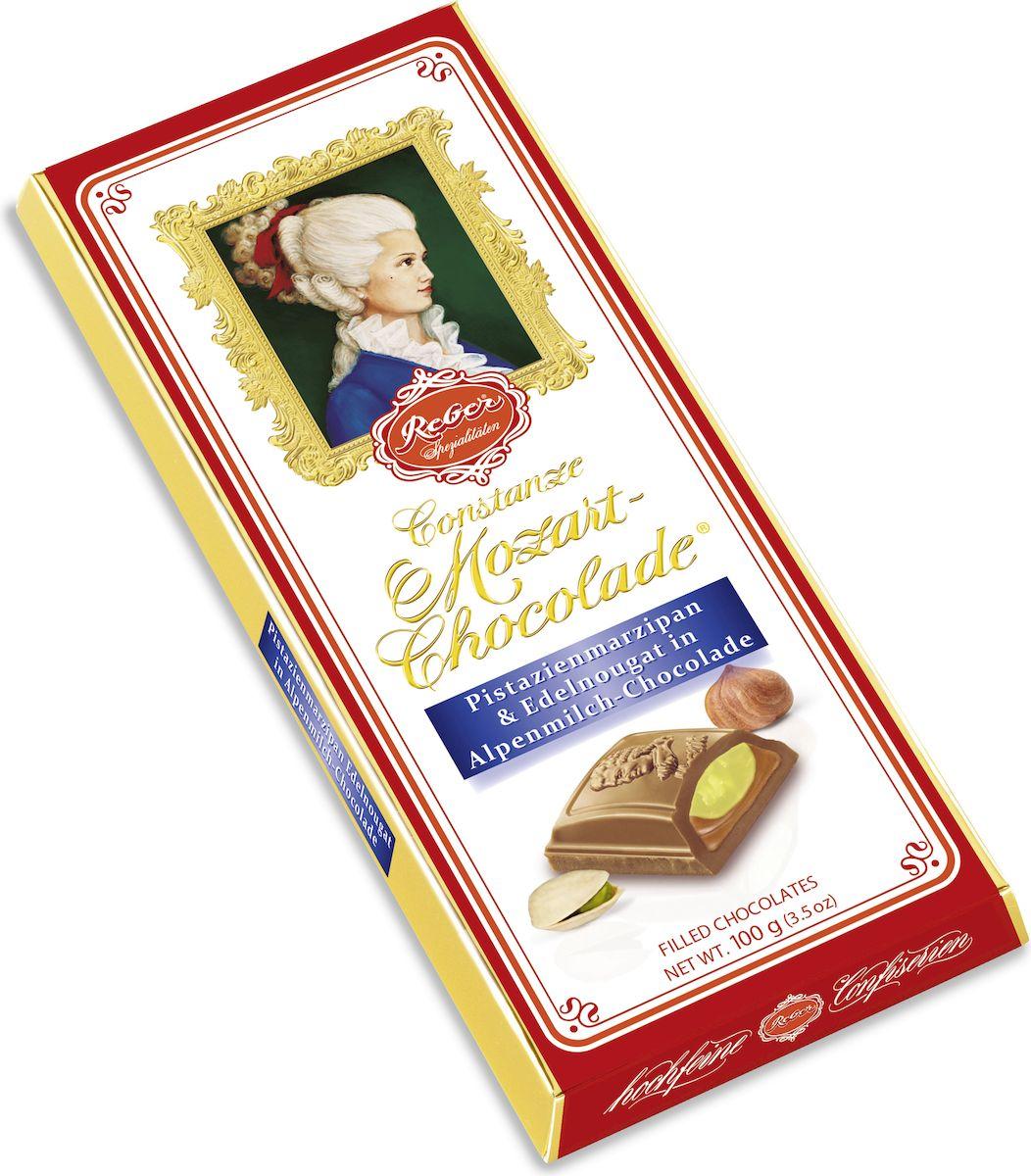 Reber AlpenVollmilch молочный шоколад с ореховым пралине и фисташковым марципаном, 100 г reber nougat молочный шоколад с ореховым и сливочным пралине 100 г