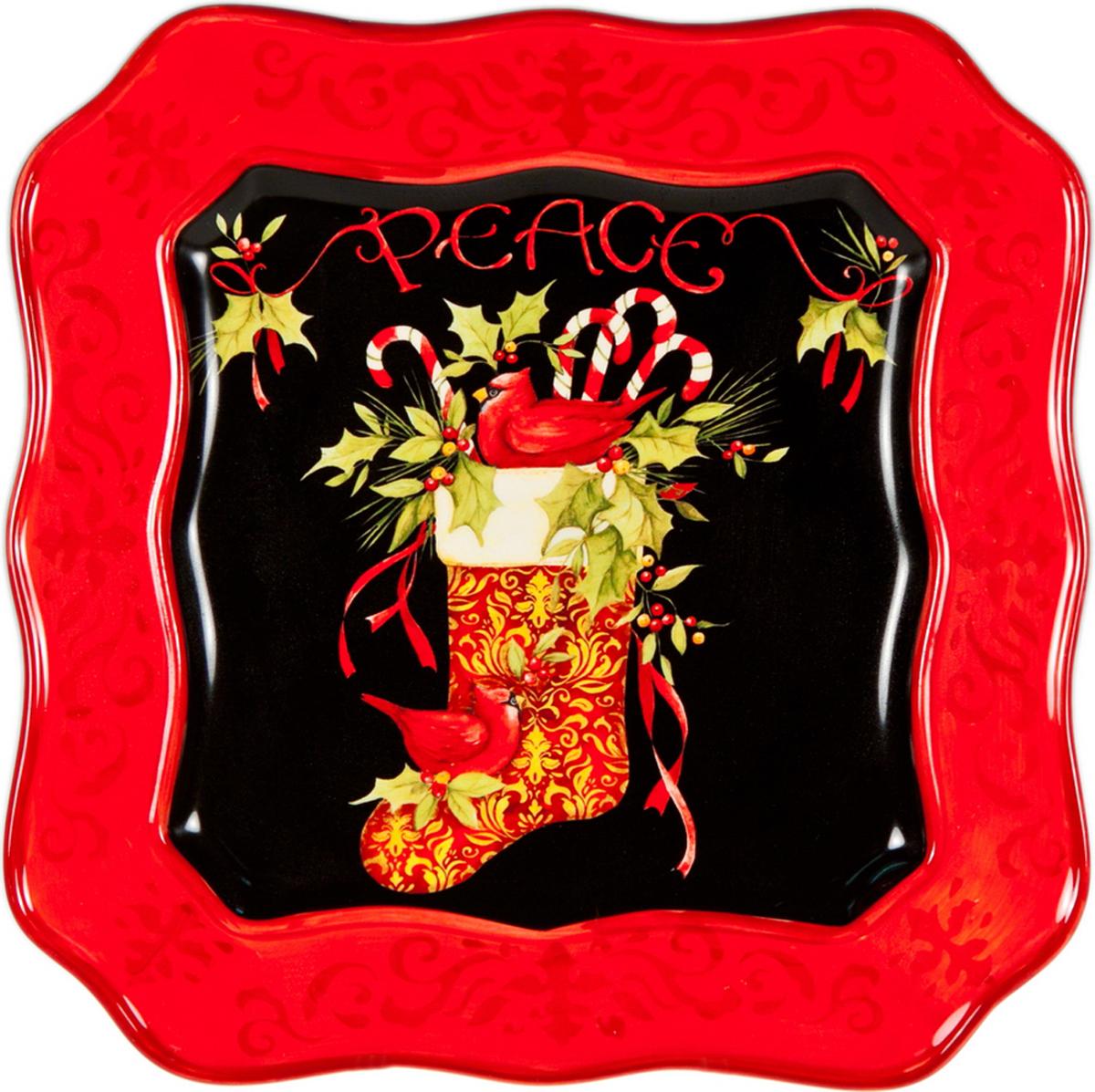 """Квадратное блюдо Certified International """"Винтаж новогодний"""" изготовлено из высококачественной керамики, которая отличается практичностью и высоким качеством исполнения. Посуда расписана вручную и покрыта глазурью, выполнена из экологически чистых материалов, что обеспечивает сохранение отменного вкуса блюд и их длительное хранение. Эта керамическая посуда химически инертна, не вступает в реакцию с пищей, не выделяет вредных веществ при перегреве. Такое блюдо прекрасно оформит праздничный стол и станет замечательным сувениром к Новому году."""