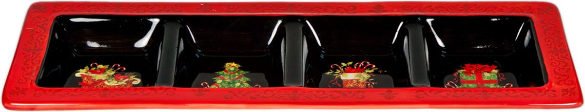 """Прямоугольная менажница Certified International """"Винтаж новогодний"""" изготовлена из высококачественной керамики, которая отличается практичностью и высоким качеством исполнения. Изделие имеет 4 секции для подачи сразу 4 видов закусок, что очень сэкономит место на праздничном столе. Посуда расписана вручную и покрыта глазурью, выполнена из экологически чистых материалов, что обеспечивает сохранение отменного вкуса блюд и их длительное хранение. Эта керамическая посуда химически инертна, не вступает в реакцию с пищей, не выделяет вредных веществ при перегреве. Такое блюдо прекрасно оформит праздничный стол и станет замечательным сувениром к Новому году."""