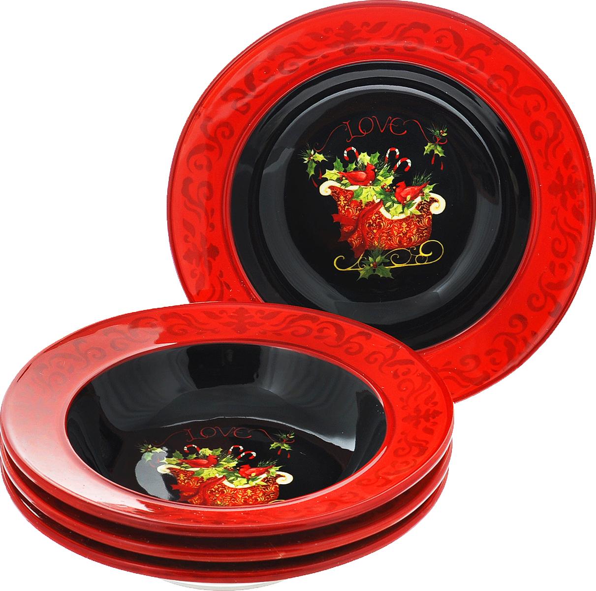 """Набор Certified International """"Винтаж новогодний"""" состоит из 4 суповых тарелок, изготовленных из высококачественной керамики, которая отличается практичностью и высоким качеством исполнения. Посуда расписана вручную и покрыта глазурью, выполнена из экологически чистых материалов, что обеспечивает сохранение отменного вкуса блюд. Эта керамическая посуда химически инертна, не вступает в реакцию с пищей, не выделяет вредных веществ при перегреве. Такой набор прекрасно оформит праздничный стол и станет замечательным сувениром к Новому году."""