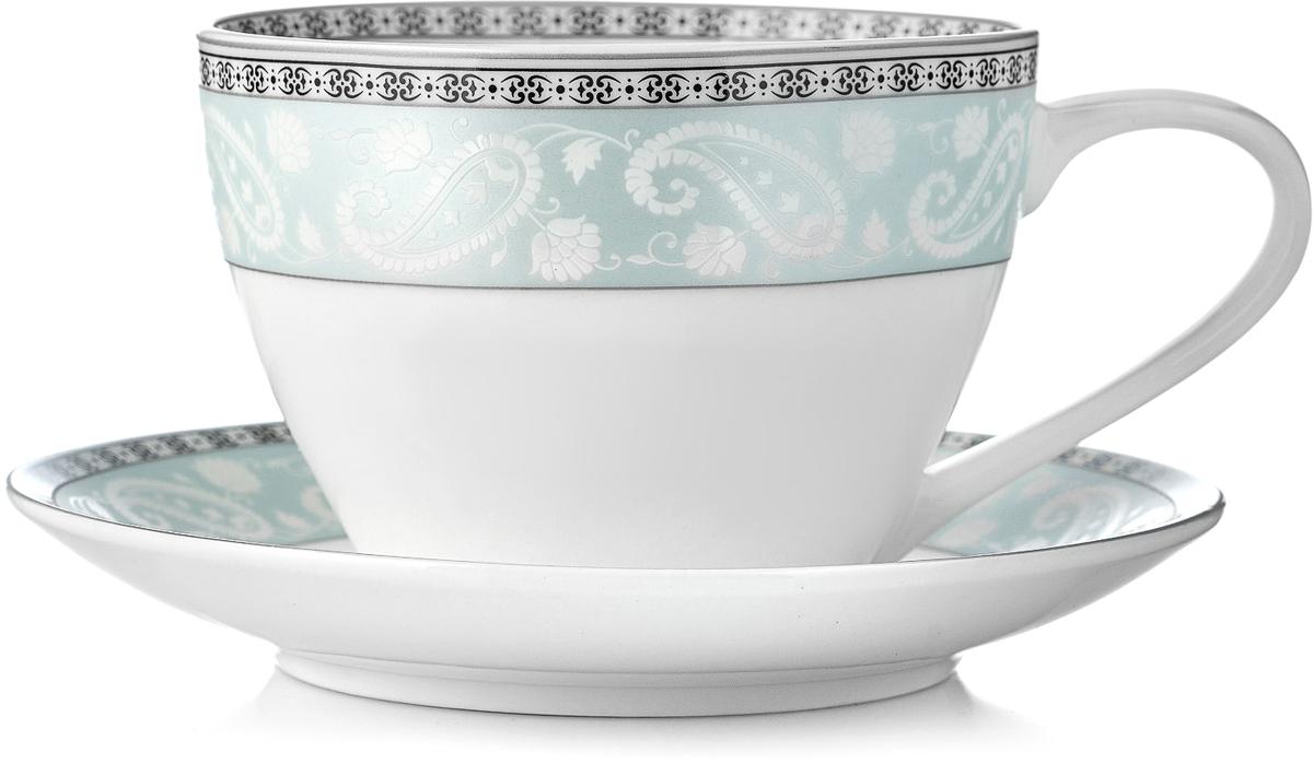 """Чайная пара Esprado """"Arista Blue"""", цвет: белый, черный, голубой, 315 мл"""