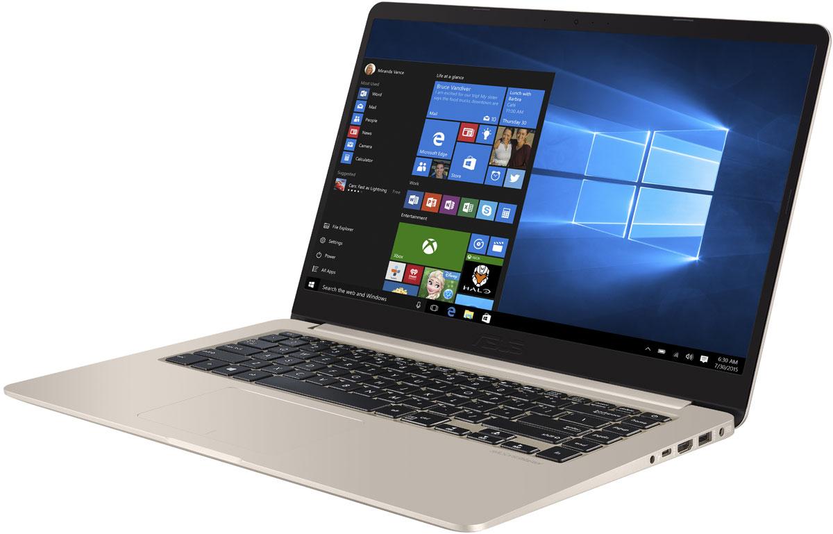 ASUS VivoBook S15 S510UN, Gold Metal (90NB0GS1-M00410)90NB0GS1-M00410ASUS VivoBook S15 S510UN - это красивое устройство с великолепной производительностью. В его тонком корпусе с металлической отделкой находятся мощные компоненты.Хотя по размеру корпуса VivoBook S15 S510UN соответствует типичным 14-дюймовым ноутбукам, его дисплей имеет размер 15,6 дюйма. Это стало возможным за счет невероятно тонкой экранной рамки NanoEdge толщиной всего 7,8 мм: площадь дисплея составляет 80% от площади крышки. Используемая в нем ЖК-матрица может похвастать широкими углами обзора (178°), поэтому изображение на экране этого ноутбука будет ярким и контрастным даже при взгляде со стороны.Ноутбук VivoBook S15 S510UN обладает мощной конфигурацией, достаточной и для продуктивной работы, и для развлекательных приложений. В максимальной версии она включает процессор Intel Core i7, до 16 гигабайт оперативной памяти DDR4-2133 и видеокарту NVIDIA GeForce MX150. Его подключение к сетям Wi-Fi осуществляется с помощью двухдиапазонного модуля стандарта 802.11ac с максимальной скоростью передачи данных до 867 Мбит/с!VivoBook S15 S510UN сочетает достоинства традиционного жесткого диска (высокую емкость) и новейших твердотельных накопителей (увеличенная скорость передачи данных), предлагая пользователю высокоскоростную подсистему хранения данных большого объема.Для быстрого обмена данными с периферийными устройствами VivoBook S15 S510UN предлагает высокоскоростной порт USB 3.1, выполненный в виде обратимого разъема Type-C. Кроме того, у данной модели имеется кард-ридер формата SD и видеоинтерфейс HDMI для подключения внешних мониторов или телевизоров.VivoBook S15 S510UN оснащается полноразмерной клавиатурой с подсветкой, которая позволяет с удобством использовать этот ноутбук даже в темноте. Комфорту для рук способствует увеличенная глубина хода клавиш - 1,4 мм.Технология Splendid позволяет выбрать один из трех предустановленных режимов работы дисплея, каждый из которых оптимизирован под определенные