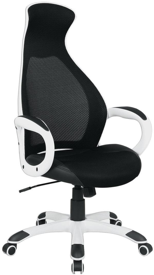 Кресло офисное Brabix Genesis EX-517, цвет: белый, черный531573Кресло - это уникальное сочетание комфорта и передовых технологий. Сетчатая спинка улучшает вентиляцию, а стильный яркий дизайн идеально впишется в интерьер любого помещения. Модель оснащена механизмом качания. Материал обивки - экокожа, с тканевыми вставками и акриловой сеткой.Механизм качания Top-Gun с регулировкой под вес и фиксацией.Подлокотники и пятилучие - пластиковые, повышенной прочности.Встроенный подголовник.Эргономичная конструкция спинки.Подлокотники и пятилучие - белого цвета.Просторное мягкое сидение.Противоскользящие накладки на пятилучии.Рекомендуемая нагрузка на кресло до 120 кг.Цвет обивки - черный.