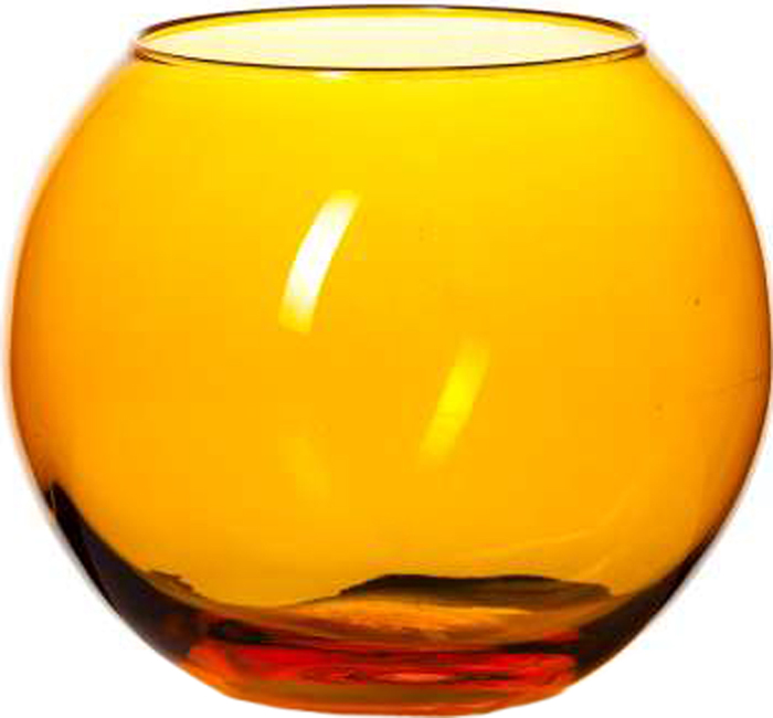 Ваза круглая оранжевого цвета, h=102,5 мм, диаметр горловины 85 мм.
