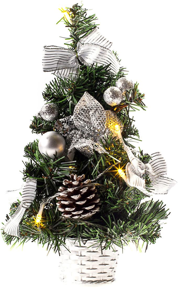 Елка настольная c игрушками и гирляндой Vita Pelle, 30 см. K11EL1802K11EL1802Милая наряженная елочка в корзинке украшена игрушками, мишурой и гирляндой. Она будет уместна и дома, и в офисе. Весело подмигивая всеми своими огоньками, она преобразит пространство, подарив праздник и новогоднее настроение.