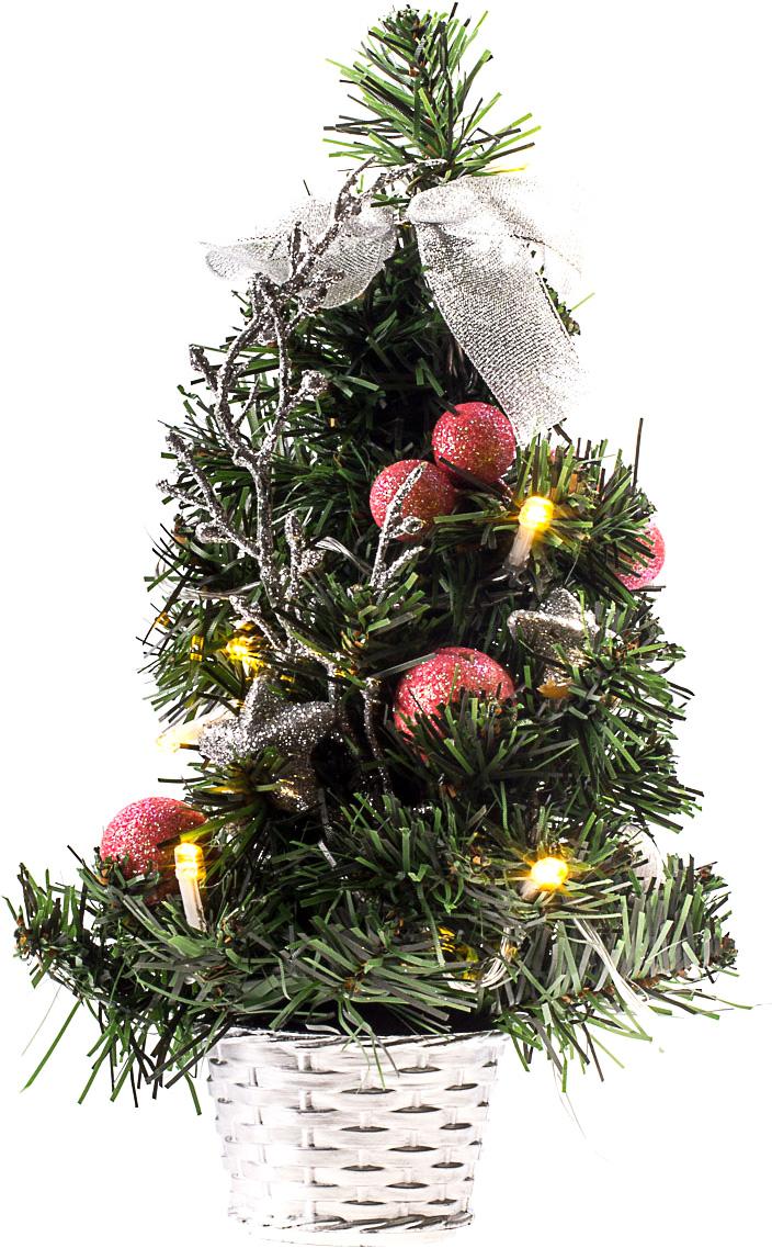 Елка настольная c игрушками и гирляндой Vita Pelle, 30 см. K11EL1803K11EL1803Милая наряженная елочка в корзинке украшена игрушками, мишурой и гирляндой. Она будет уместна и дома, и в офисе. Весело подмигивая всеми своими огоньками, она преобразит пространство, подарив праздник и новогоднее настроение.