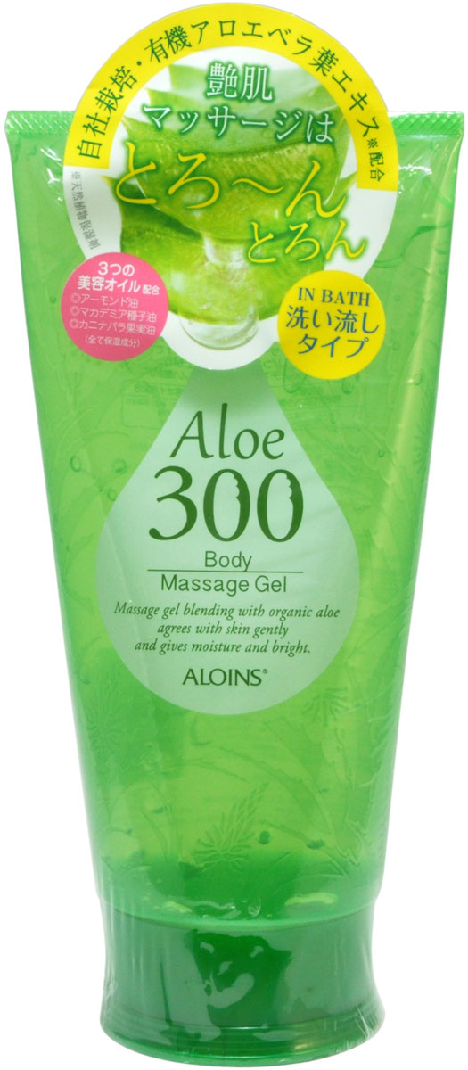 Aloins Гель для массажа тела с экстрактом алоэ, 300 г900315Косметический гель предназначен для массажа тела в ванне или душе. После процедуры вы получите гладкую, сияющую, увлажненную кожу.Содержит экстракт листьев органического алоэ, выращиваемого компанией ALOINS.Активные компоненты:Экстракт листьев алоэ содержит эфирные масла, витамины (антиоксидантный комплекс А, Е и С, витамины группы В с уникально высоким содержанием витамина В12) , минералы, флавоноиды и другие биологически активные компоненты. Алоэ питает и увлажняет кожу, оказывает положительное влияние на процессы регенерации тканей.3 вида косметических масел (миндальное, семян макадамии, плодов шиповника) – увлажняющие и смягчающие компоненты.Комплекс растительных экстрактов (хвоща полевого, сосновых почек, хмеля, лимона, розмарина) улучшает обмен веществ в клетках тканей, способствует выводу излишней жидкости и токсинов, придает коже упругость, тонизирует.Косметические товары ALOINS производятся в экологически чистом районе Японии - Симанто с использованием натуральных компонентов и очищенной воды из глубоководных подземных источников.Обладает ароматом зелени и цветов.