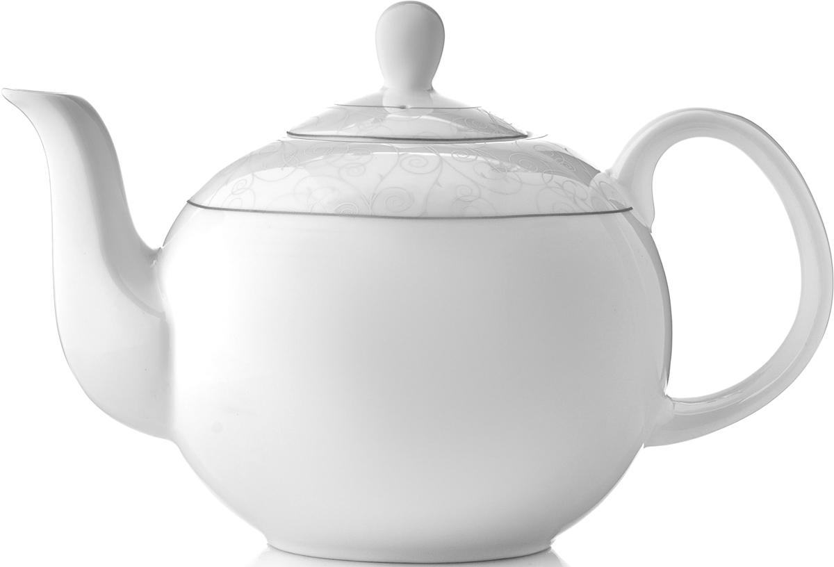 """Чайник заварочный Esprado """"Florestina"""" изготовлен из высококачественного костяного фарфора и декорирован изящным узором по верхнему краю. Такой дизайн, несомненно, придется по вкусу и любителям классики, и тем кто предпочитает современный стиль.  Такой чайник украсит ваш кухонный стол, а также станет замечательным подарком к любому празднику.  Можно использовать в микроволновой печи и мыть в посудомоечной машине. Диаметр чайника (по верхнему краю): 5,5 см. Высота чайника (с учетом крышки): 15 см. Длина чайника (с учетом ручки и носика): 21 см."""