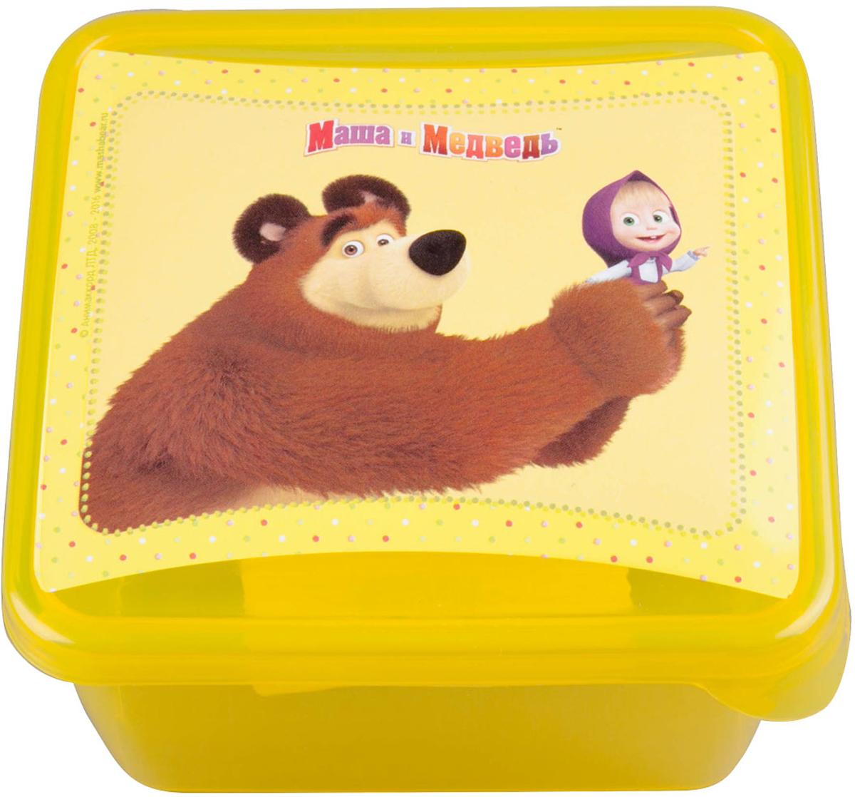 Емкость для хранения Маша и Медведь Mini, цвет: желтый, 450 млмим-0616008Емкость изготовленна из пищевого пластика, подходит как для хранения пищи, так и для хранения игрушек и любых небольших предметов. Идеальна для школьных завтраков. Ее можно мыть в посудомоечной машине. В ней можно замораживать ягоды и фрукты, так как емкость выдерживает минусовые температуры.