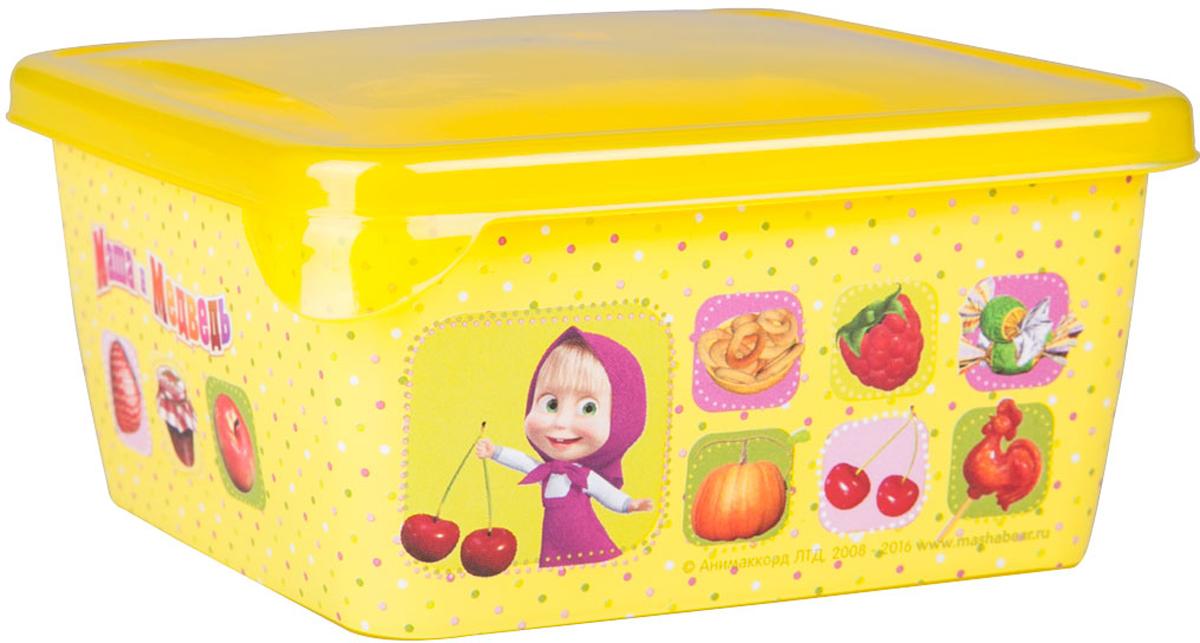 Емкость для хранения Маша и Медведь Mini, с крышкой, цвет: желтый, 450 млмим-0616007Емкость изготовленна из пищевого пластика, подходит как для хранения пищи, так и для хранения игрушек и любых небольших предметов. Идеальна для школьных завтраков. Ее можно мыть в посудомоечной машине. В ней можно замораживать ягоды и фрукты, так как емкость выдерживает минусовые температуры.