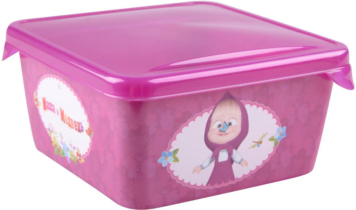 Емкость для хранения Маша и Медведь Mini, с крышкой, цвет: бордовый, 450 млмим-0616004Емкость изготовленна из пищевого пластика, подходит как для хранения пищи, так и для хранения игрушек и любых небольших предметов. Идеальна для школьных завтраков. Ее можно мыть в посудомоечной машине. В ней можно замораживать ягоды и фрукты, так как емкость выдерживает минусовые температуры.