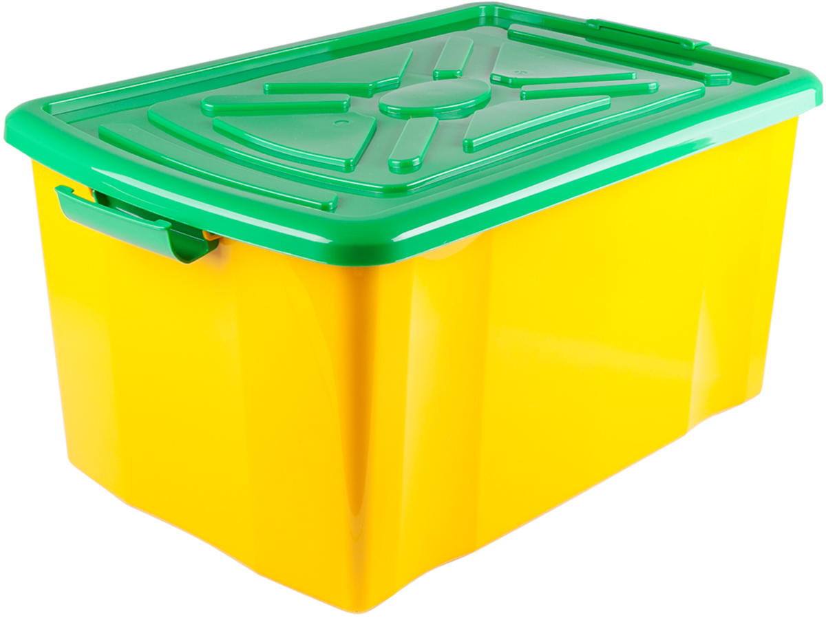 Ящик для хранения Miolla, с крышкой, цвет: желтый, 57 х 38 х 30 смSB2-YЯщик для хранения с крышкой, длина 57 см, ширина 38 см, высота 30 см, на колесиках.