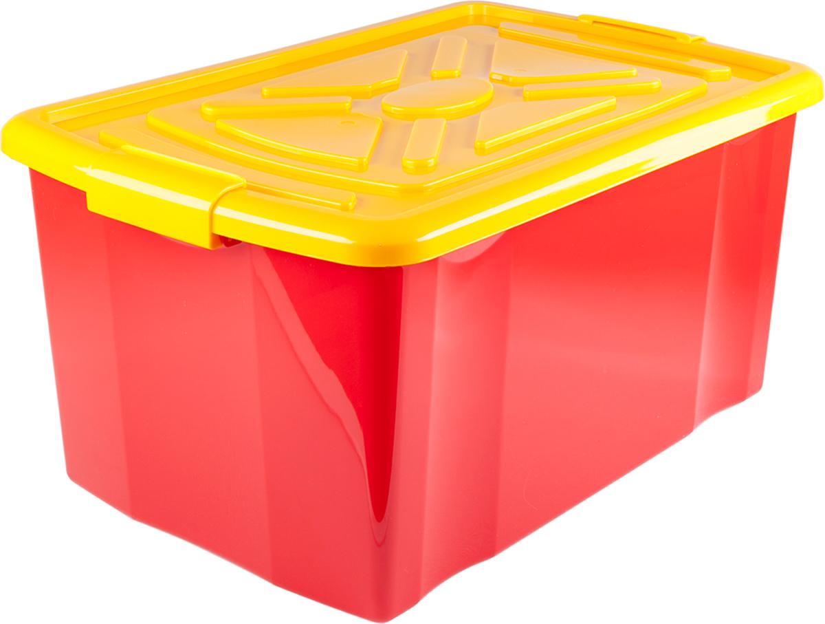 Ящик для хранения Miolla, с крышкой, цвет: красный, 57 х 38 х 30 см ящик для рыболовных принадлежностей onlitop цвет зеленый черный 38 х 24 х 37 см
