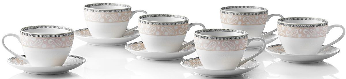 """Чайный набор Esprado """"Arista Rose"""" состоит из шести чашек и шести блюдец,  изготовленных из высококачественного костяного фарфора.  Над созданием дизайна коллекций посуды из фарфора Esprado работает  международная команда  высококлассных дизайнеров, не только воплощающих в  жизнь все новейшие тренды, но также и  придерживающихся многовековых традиций при  создании классических коллекций.  Посуда из костяного фарфора будет идеальным выбором,  для тех, кто предпочитает красивую современную посуду  из высококачественного материала, которая отличается  высокой прочностью и подходит для ежедневного  использования.  Посуда из коллекции """"Arista Rose"""" прекрасно подойдет для уютного домашнего  ужина, придав ему легкий оттенок торжественности. Тонкий """"огуречный"""" узор в  сочетании с нежным розовым цветом создает ощущение мягкости и тепла.   Можно использовать в микроволновки печи и мыть в  посудомоечной машине."""