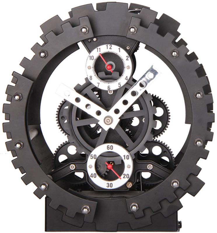 """Открытый корпус часов Baron """"Машина времени"""" позволяет заглянуть внутрь устройства и узнать, как работают многочисленные шестерни, колесики и стрелки.  Настольная модель полностью открыта, без защитного стекла.  Диаметр: 20 см.  Толщина: 10 см. Металлические стрелки  Питание от элементов питания стандарта R14 (в комплект не входят)."""