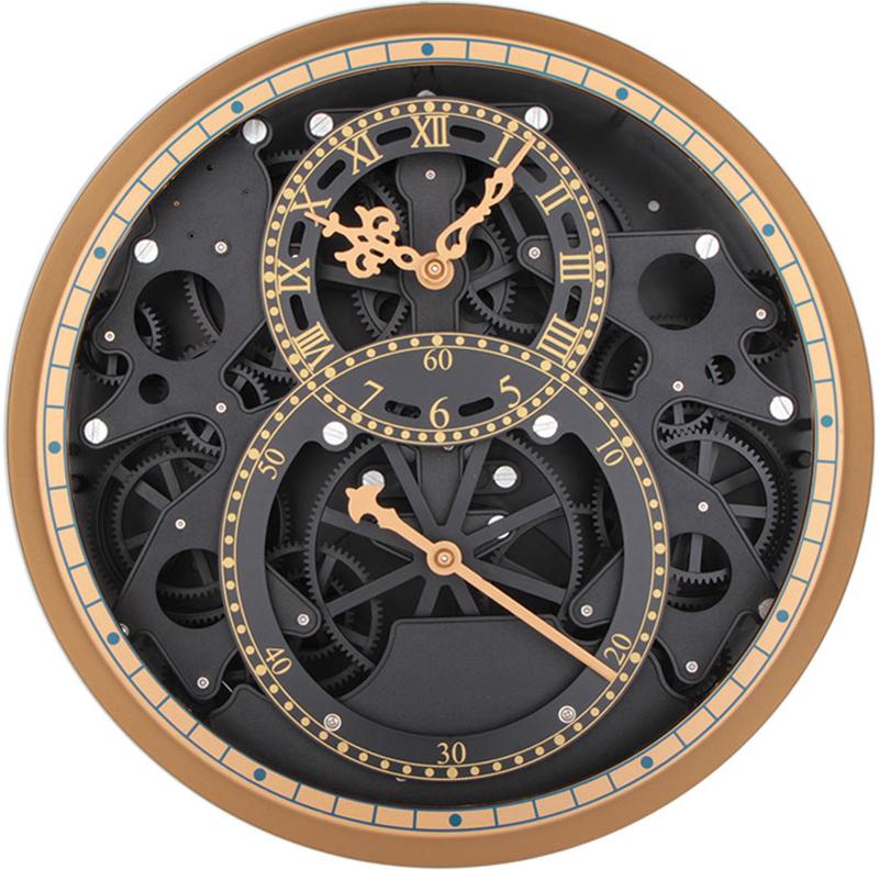 Открытый корпус настенных часов-скелетонов позволяет заглянуть внутрь устройства и узнать, как работают многочисленные шестерни, колесики и стрелки. В этой модели часов сверху расположено защитное стекло, но при этом весь внутренний механизм остается на виду.  Характеристики: Диаметр 34,5 см.  Толщина 9,5 см. Металлические стрелки.  Питание от элементов питания стандарта R14 (в комплект не входят). Материал: металл, пластик.