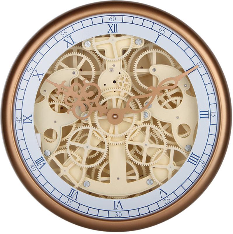 Часы настенные Baron Хранитель времени, цвет: песочный, 35 х 11,5 см506-CLОткрытый корпус настенных часов-скелетонов позволяет заглянуть внутрь устройства и узнать, как работают многочисленные шестерни, колесики и стрелки. В этой модели часов сверху расположено защитное стекло, но при этом весь внутренний механизм остается на виду. Характеристики:Диаметр 35 см. Толщина 11,5 смМеталлические стрелки Питание от элементов питания стандарта R14 (в комплект не входят)Материал: металл, пластик