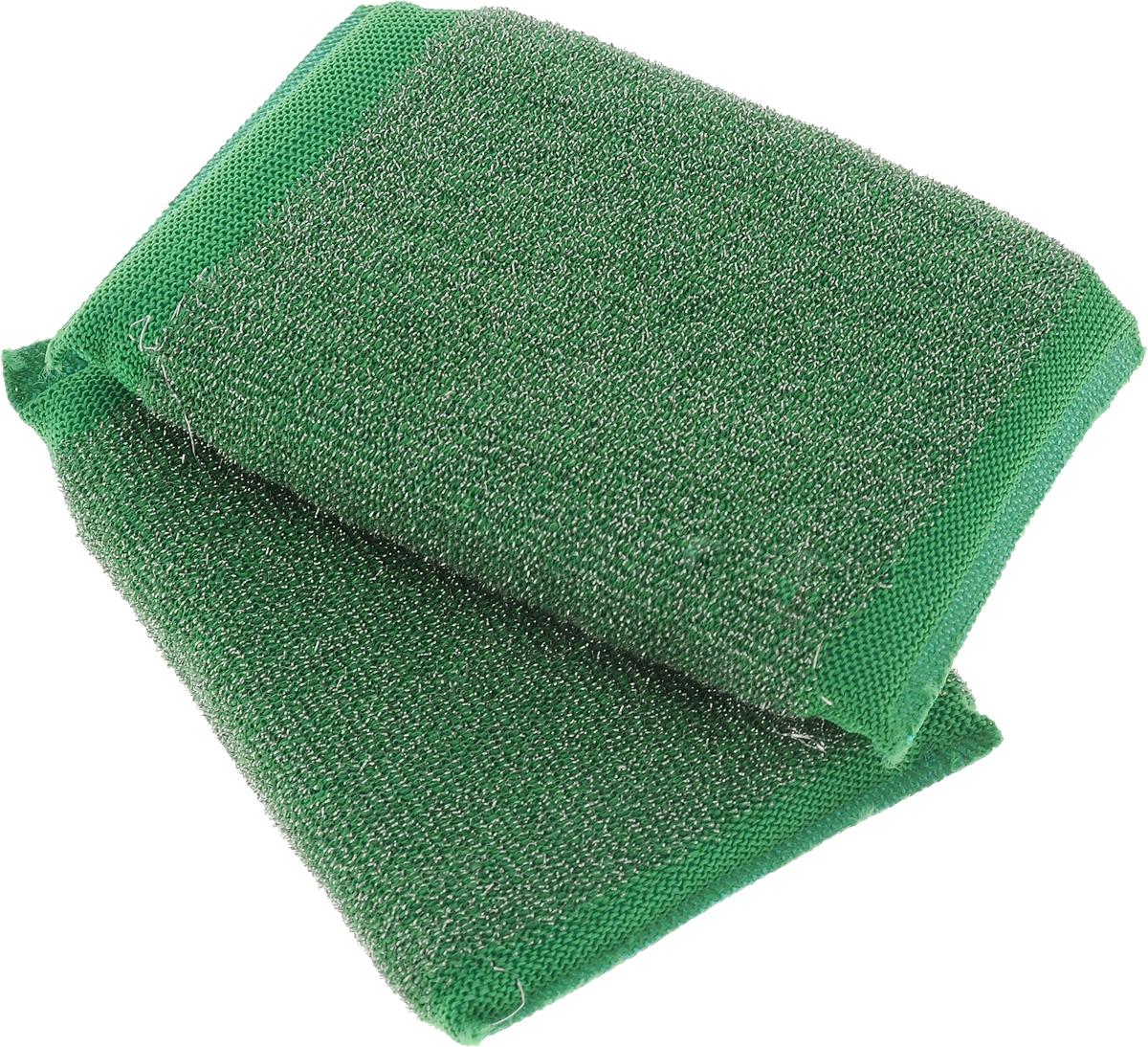 Набор губок Хозяюшка Мила Задира для мытья посуды, со стальной нитью, цвет: зеленый, 2 шт1019_зеленыйДля изготовления верхнего чистящего слоя губки Задира используется ткань с металлизированной нитью, благодаря этому поверхность губки становится жесткой и подходит для удаления самых сильных загрязнений. Идеальна для очистки грилей, решеток, шампуров, барбекю.Размер губки: 12,5 х 8,5 х 2 см.