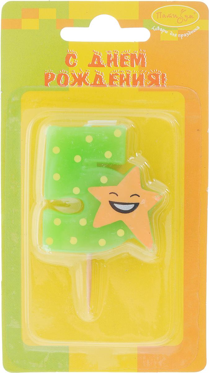 Пати Бум Свеча-цифра Мини 5 Звезда цвет зеленый