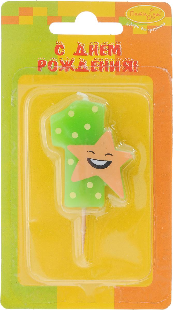 Пати Бум Свеча-цифра Мини 1 Звезда цвет зеленый