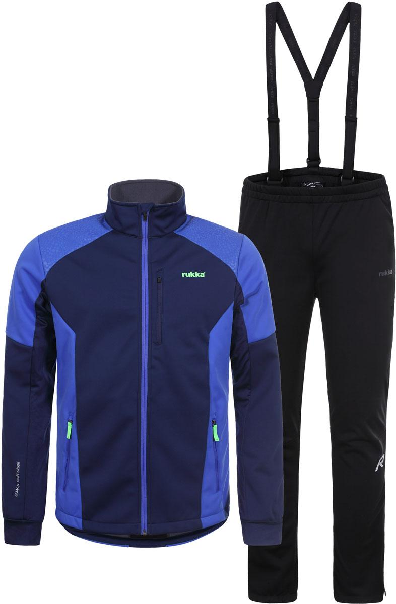 Комплект верхней одежды мужской Rukka: куртка, брюки, цвет: синий, черный. 878632252RV_382. Размер M (50)878632252RV_382Костюм от Rukka для занятий лыжным спортом по технологии Soft Shell. Куртка на молнии и брюки выполнены из ветрозащитного материала, утепленного микрофлисом с внутренней стороны. В модели предусмотрены вставки для дополнительной вентиляции. В куртке есть два внешних кармана на молнии, эластичные манжеты в рукавах, и добавлены светоотражающие элементы. Брюки имеют съемные регулируемые подтяжки, молнии внизу брючины для облегчения надевания лыжных ботинок, и нескользящую силиконовую тесьму по нижнему шву брюк.
