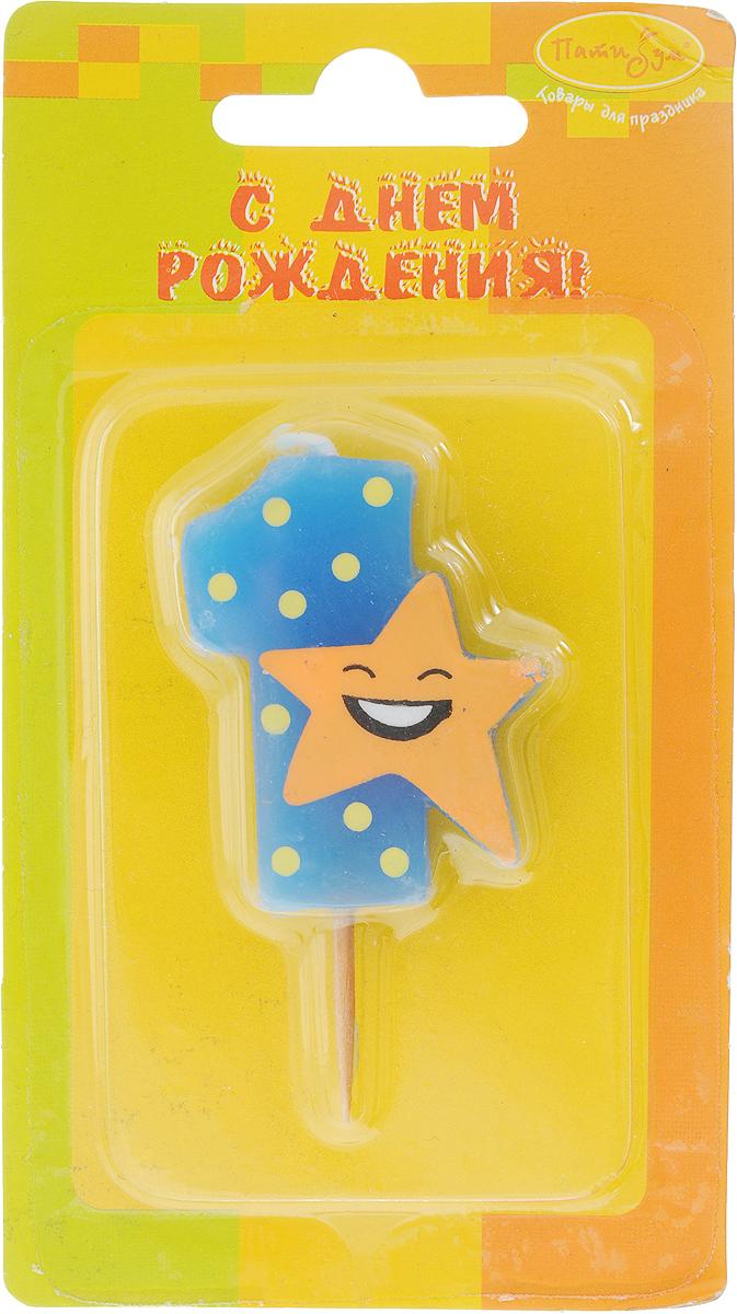 Пати Бум Свеча-цифра Мини 1 Звезда цвет синий