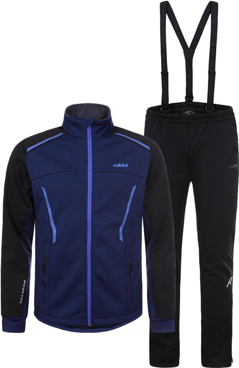 Комплект верхней одежды мужской Rukka: куртка и брюки, цвет: темно-синий. 878636237RV_382. Размер XXL (56)878636237RV_382Костюм от Rukka для занятий лыжным спортом по технологии Soft Shell. Куртка на молнии и брюки выполнены из ветрозащитного материала, утепленного микрофлисом с внутренней стороны. В модели предусмотрены вставки для дополнительной вентиляции. В куртке есть два внешних кармана на молнии, эластичные манжеты в рукавах, и добавлены светоотражающие элементы. Брюки имеют съемные регулируемые подтяжки, молнии внизу брючины для облегчения надевания лыжных ботинок, и нескользящую силиконовую тесьму по нижнему шву брюк.