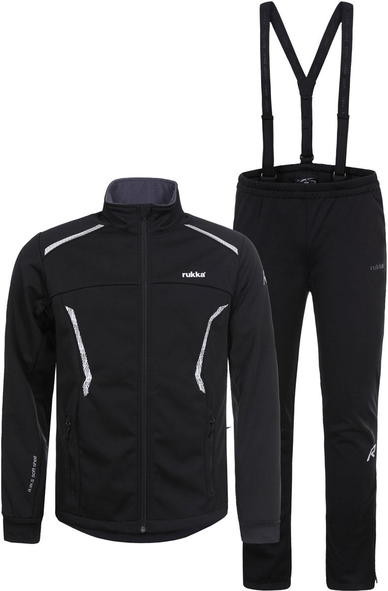 Комплект верхней одежды мужской Rukka: куртка и брюки, цвет: черный. 878636237RV_990. Размер S (48)878636237RV_990Костюм от Rukka для занятий лыжным спортом по технологии Soft Shell. Куртка на молнии и брюки выполнены из ветрозащитного материала, утепленного микрофлисом с внутренней стороны. В модели предусмотрены вставки для дополнительной вентиляции. В куртке есть два внешних кармана на молнии, эластичные манжеты в рукавах, и добавлены светоотражающие элементы. Брюки имеют съемные регулируемые подтяжки, молнии внизу брючины для облегчения надевания лыжных ботинок, и нескользящую силиконовую тесьму по нижнему шву брюк.
