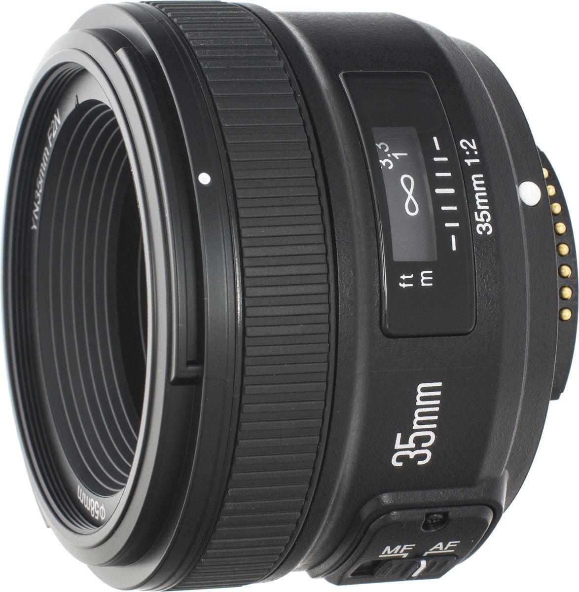 Yongnuo 35F2.0 объектив для NikonYN35MM F2.0NYongNuo AF 35mm f/2 Nikon F — аналог широкоугольного объектива от Nikon. Обладает схожей оптической схемой, но имеет более компактный корпус. 35 мм приравнивается к 56 мм на кроп-матрице, что делает этот объектив универсальным для любительских камер. Объектив YongNuo имеет большую светосилу (f/2), что позволяет эффективно использовать его в помещениях и на коротких выдержках.