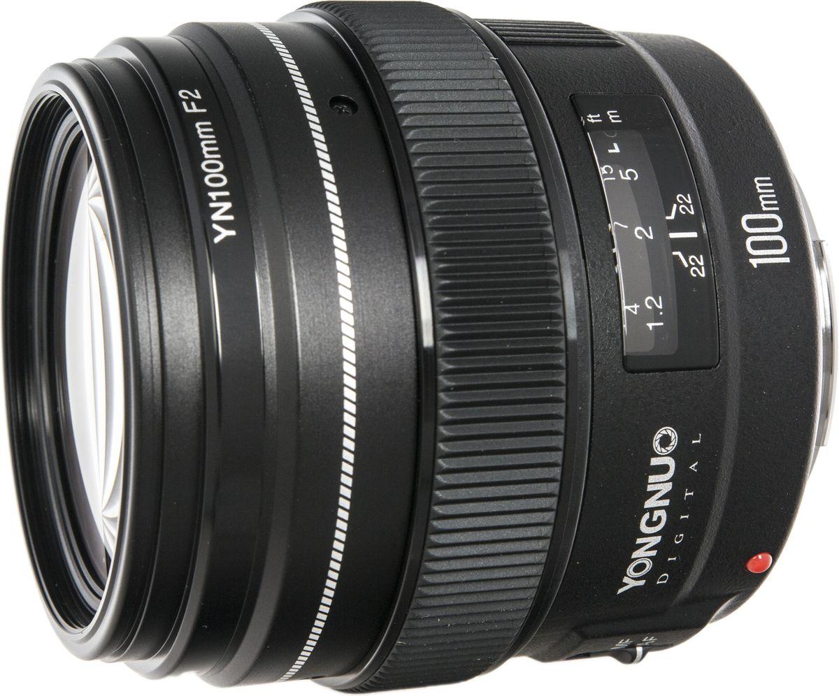 Yongnuo YN100F2.0 объектив для CanonYN100MM F2.0Недорогой теле объектив с автофокусом, предназначенный более для портретной фотосъемки. Высокая светосила позволяет снимать без вспышки при плохих условиях освещенности и также отлично позволяющая оценивать глубину резкости.Металлический байонет. Шкала фокусировки и глубины резкости. Подходит ко всем камерам Canon EOS -как полнокадровым, так и APS-C.