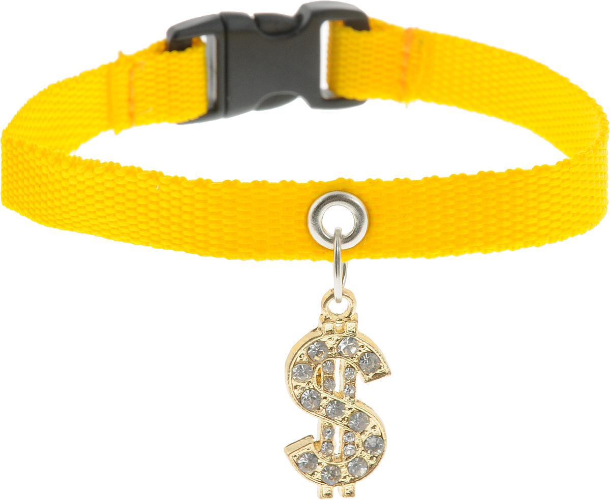Ошейник для собак GLG Собачка, с подвеской, цвет: желтый, длина 22 см ошейник для собак glg звезда регулируемый длина 55 см